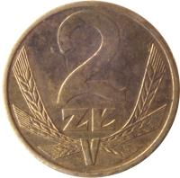 reverse of 2 Złote (1975 - 1988) coin with Y# 80 from Poland. Inscription: 2 ZŁ