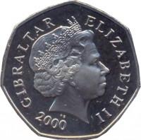 obverse of 50 Pence - Elizabeth II - 4'th Portrait (1998 - 2003) coin with KM# 778 from Gibraltar. Inscription: GIBRALTAR ELIZABETH II 2000