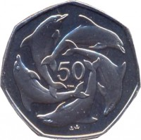 reverse of 50 Pence - Elizabeth II - 4'th Portrait (1998 - 2003) coin with KM# 778 from Gibraltar. Inscription: 50