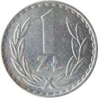 reverse of 1 Złoty - Larger (1957 - 1988) coin with Y# 49 from Poland. Inscription: 1 ZŁ
