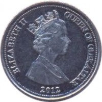 obverse of 5 Pence - Elizabeth II - 3'rd Portrait (2012 - 2013) coin with KM# 1101 from Gibraltar. Inscription: ELIZABETH II QUEEN OF GIBRALTAR 2012