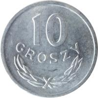 reverse of 10 Groszy (1961 - 1985) coin with Y# AA47 from Poland. Inscription: 10 GROSZY