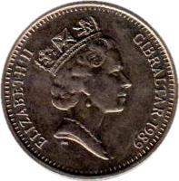 obverse of 5 Pence - Elizabeth II - Larger; 3'rd Portrait (1988 - 1990) coin with KM# 22 from Gibraltar. Inscription: ELIZABETH II GIBRALTAR · 1988