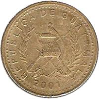 obverse of 50 Centavos (1998 - 2012) coin with KM# 283 from Guatemala. Inscription: REPUBLICA DE GUATEMALA 2001