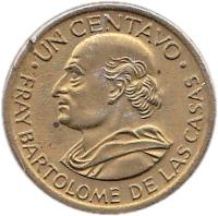 reverse of 1 Centavo (1965 - 1970) coin with KM# 265 from Guatemala. Inscription: UN CENTAVO . FRAY BARTHOLOME DE LAS CASAS .