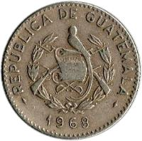 obverse of 5 Centavos (1965 - 1970) coin with KM# 266 from Guatemala. Inscription: REPUBLICA DE GUATEMALA 1970