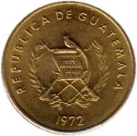 obverse of 1 Centavo (1972 - 1973) coin with KM# 273 from Guatemala.