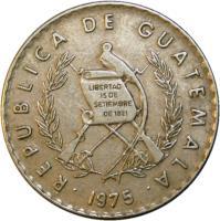 obverse of 10 Centavos (1973 - 1976) coin with KM# 274 from Guatemala. Inscription: REPUBLICA DE GUATEMALA · 1975 · LIBERTAD 15 DE SEPTIEMBRE DE 1821