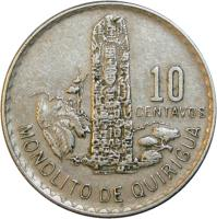 reverse of 10 Centavos (1973 - 1976) coin with KM# 274 from Guatemala. Inscription: 10 CENTAVOS MONOLITO DE QUIRIGUA