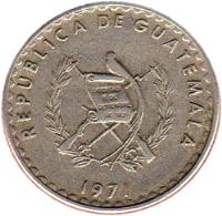 obverse of 10 Centavos (1971) coin with KM# 271 from Guatemala.