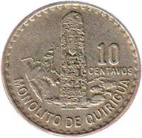 reverse of 10 Centavos (1971) coin with KM# 271 from Guatemala.