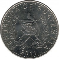 obverse of 25 Centavos - Reeded edge (2011) coin from Guatemala. Inscription: REPUBLICA DE GUATEMALA 2011