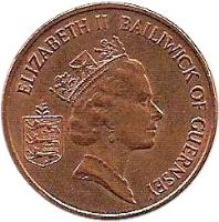 obverse of 1 Penny - Elizabeth II - 3'rd Portrait (1992 - 1997) coin with KM# 40a from Guernsey. Inscription: ELIZABETH II BAILIWICK OF GUERNESEY