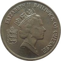obverse of 10 Pence - Elizabeth II - Smaller; 3'rd Portrait (1992 - 1997) coin with KM# 43.2 from Guernsey. Inscription: ELIZABETH II BAILIWICK OF GUERNSEY