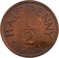 reverse of 1/2 Penny - Elizabeth II (1979) coin with KM# 33 from Guernsey. Inscription: HALF PENNY 1 - 2 · 1979 ·