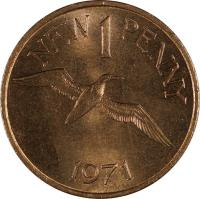 reverse of 1 New Penny - Elizabeth II (1971) coin with KM# 21 from Guernsey. Inscription: NEW 1 PENNY 1971