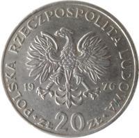 obverse of 20 Złotych - Marceli Nowotko (1974 - 1983) coin with Y# 69 from Poland. Inscription: POLSKA RZECZPOSPOLITA LUDOWA 1976 · ZŁ 20 ZŁ ·