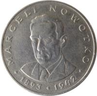 reverse of 20 Złotych - Marceli Nowotko (1974 - 1983) coin with Y# 69 from Poland. Inscription: MARCELI NOWOTKO · 1893 · 1942 ·