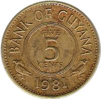 reverse of 5 Cents (1967 - 1992) coin with KM# 32 from Guyana. Inscription: BANK OF GUYANA FIVE 5 CENTS 1992
