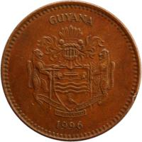 obverse of 5 Dollars (1996 - 2012) coin with KM# 51 from Guyana. Inscription: GUYANA ONE PEOPLE ONE NATION ONE DESTINY 2002