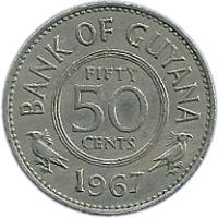 reverse of 50 Cents (1967) coin with KM# 35 from Guyana. Inscription: BANK OF GUYANA FIFTY 50 CENTS 1967