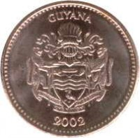 obverse of 1 Dollar (1996 - 2012) coin with KM# 50 from Guyana. Inscription: GUYANA 2002