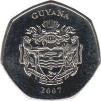 obverse of 10 Dollars (1996 - 2011) coin with KM# 52 from Guyana. Inscription: GUYANA 2007