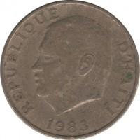 obverse of 10 Centimes - FAO (1975 - 1983) coin with KM# 120 from Haiti. Inscription: REPUBLIQUE D'HAÏTI 1975