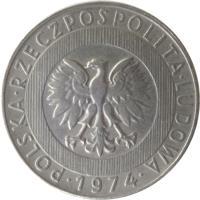 obverse of 20 Złotych (1973 - 1976) coin with Y# 67 from Poland. Inscription: POLSKA · RZECZPOSPOLITA · LUDOWA · 1974 ·