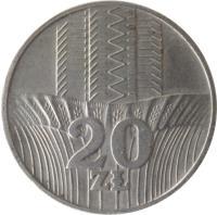reverse of 20 Złotych (1973 - 1976) coin with Y# 67 from Poland. Inscription: 20 ZŁ
