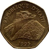 obverse of 1 Gourde (1995 - 2011) coin with KM# 155 from Haiti. Inscription: REPUBLIQUE D'HAITI 1995
