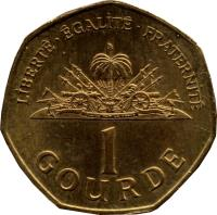 reverse of 1 Gourde (1995 - 2011) coin with KM# 155 from Haiti. Inscription: LIBERTE.EGALITE.FRATERNITE L'UNION FAIT LA FORCE 1 GOURDE