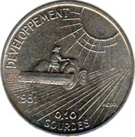 reverse of 10 Centimes - FAO (1981) coin with KM# 146 from Haiti. Inscription: DEVELOPPEMENT 1981 0.10 GOURGES