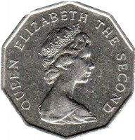 obverse of 5 Dollars - Elizabeth II - 2'nd Portrait (1976 - 1979) coin with KM# 39 from Hong Kong. Inscription: QUEEN ELIZABETH THE SECOND