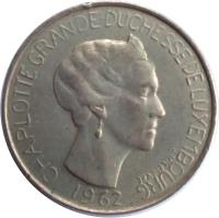 obverse of 5 Francs - Charlotte (1962) coin with KM# 51 from Luxembourg. Inscription: CHARLOTTE GRANDE DUCHESSE DE LUXEMBOURG J.N.LEFEVRE 1962