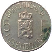 reverse of 5 Francs - Charlotte (1962) coin with KM# 51 from Luxembourg. Inscription: GRAND DUCHE DE 5 F JNL LUXEMBOURG