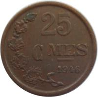 reverse of 25 Centimes - Charlotte (1946 - 1947) coin with KM# 45 from Luxembourg. Inscription: 25 CMES 1947