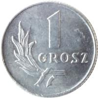 reverse of 1 Grosz (1949) coin with Y# 39 from Poland. Inscription: 1 GROSZ