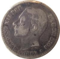obverse of 50 Centimos - Alfonso XII (1880 - 1885) coin with KM# 685 from Spain. Inscription: ALFONSO XII POR LA G · DE DIOS G.S. * 1880 *