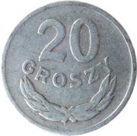 reverse of 20 Groszy (1949) coin with Y# 43a from Poland. Inscription: 20 GROSZY