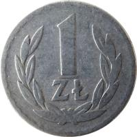 reverse of 1 Złoty (1949) coin with Y# 45a from Poland. Inscription: 1 ZŁ