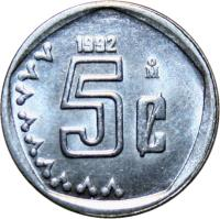 reverse of 5 Centavos (1992 - 2002) coin with KM# 546 from Mexico. Inscription: 5¢ 1992 M