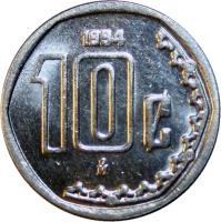 reverse of 10 Centavos - Larger (1992 - 2009) coin with KM# 547 from Mexico. Inscription: 10¢ 1992 M