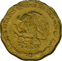 obverse of 50 Centavos - Larger (1992 - 2009) coin with KM# 549 from Mexico. Inscription: ESTADOS UNIDOS MEXICANOS