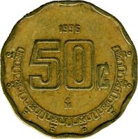 reverse of 50 Centavos - Larger (1992 - 2009) coin with KM# 549 from Mexico. Inscription: 50¢ 2003 M