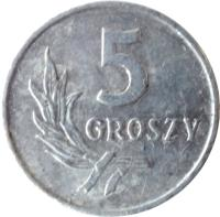 reverse of 5 Groszy (1958 - 1972) coin with Y# A46 from Poland. Inscription: 5 GROSZY