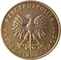 obverse of 10 Złotych (1989 - 1990) coin with Y# 152.2 from Poland. Inscription: POLSKA RZECZPOSPOLITA LUDOWA · 1989 ·
