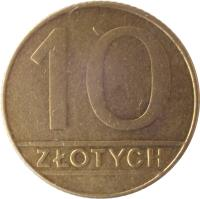 reverse of 10 Złotych (1989 - 1990) coin with Y# 152.2 from Poland. Inscription: 10 ZŁOTYCH