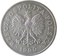 obverse of 50 Złotych (1990) coin with Y# 216 from Poland. Inscription: RZECZPOSPOLITA POLSKA 1990