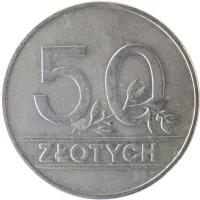 reverse of 50 Złotych (1990) coin with Y# 216 from Poland. Inscription: 50 ZŁOTYCH